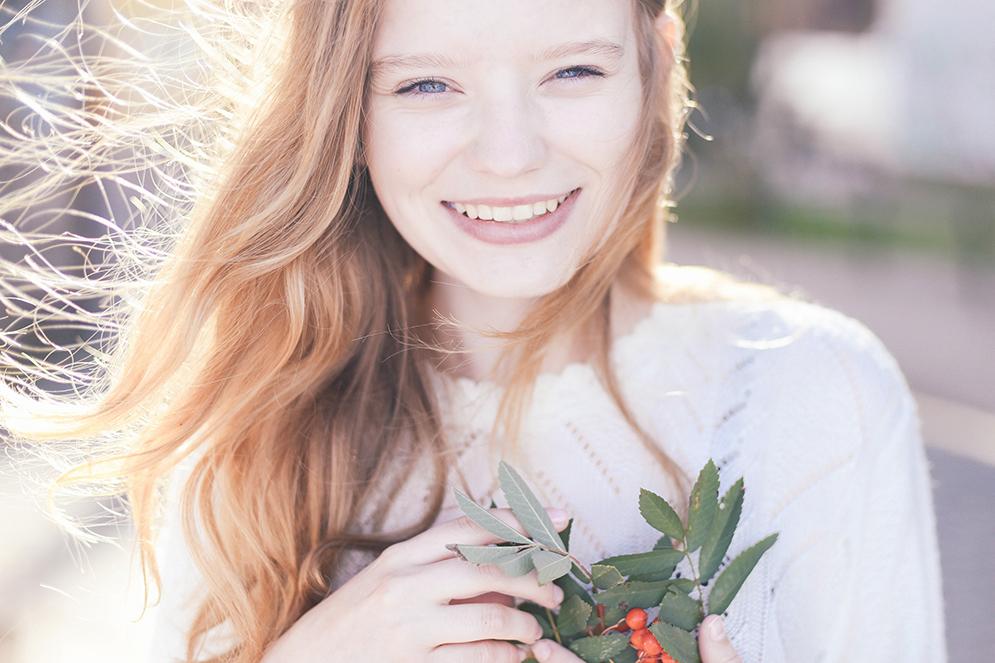 portret pod słońce uśmiech