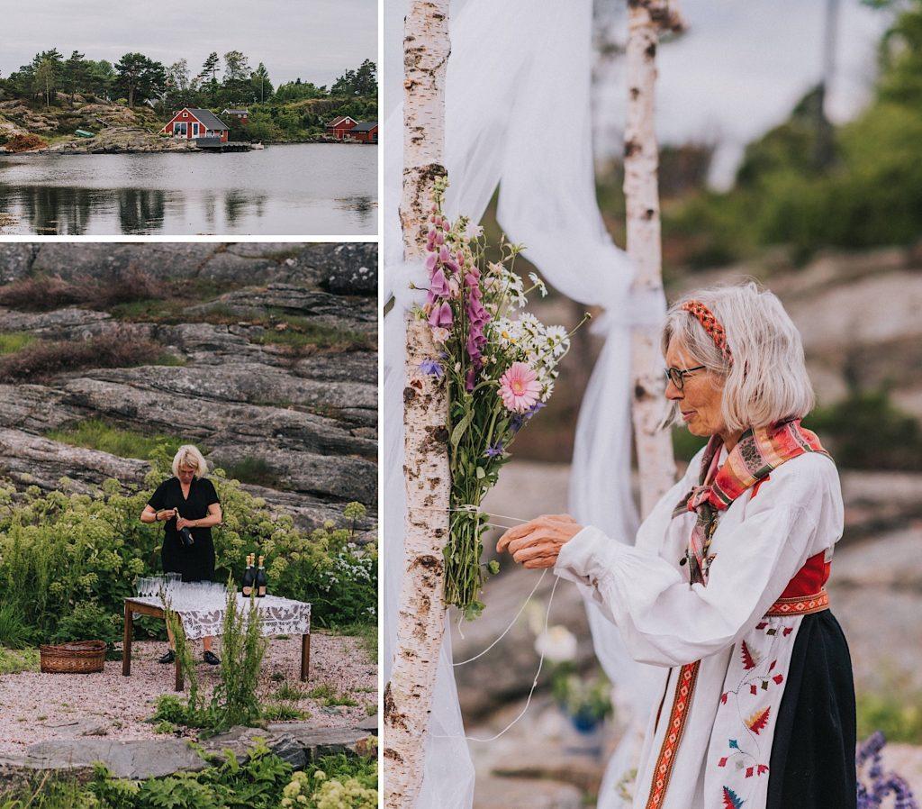 ślub w norwegii nad morzem plener na wyspie dekoracje