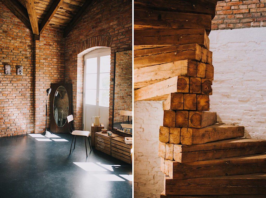 ceglarnia dworek wnętrze drewniane schody
