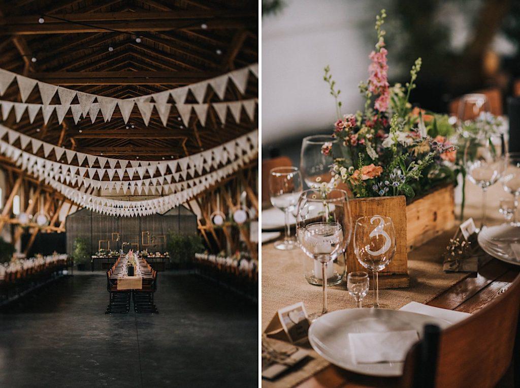 ceglarnia stodoła sielskie wesele rustykalne dekoracje stołu polne kwiaty farma florystyczna