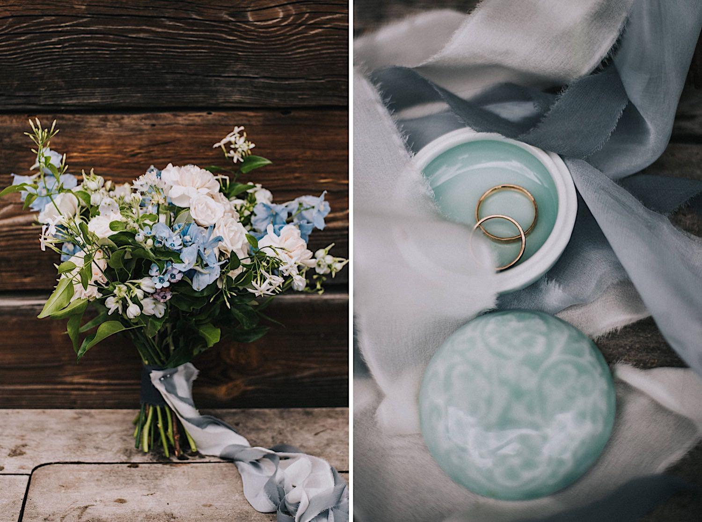 babie lato florystyka niebieski bukiet ślubny