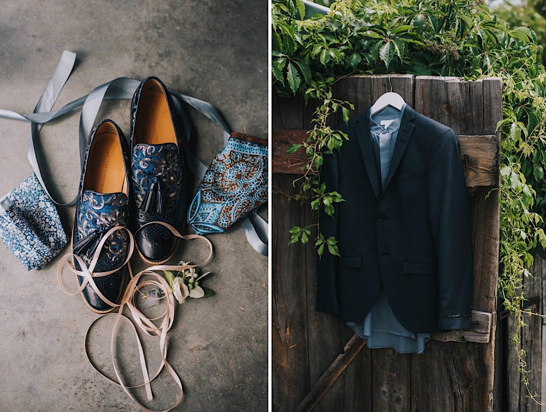 męskie buty ślubne niebieskie dodatki