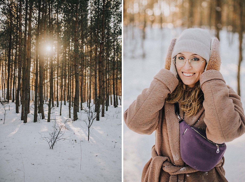 zimowa sesja las czapka rękawiczki lawina dziewczyna